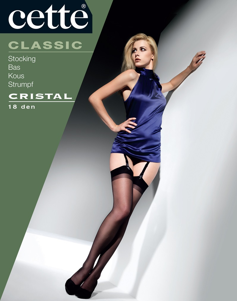 CRISTAL Plain Stockings - Black