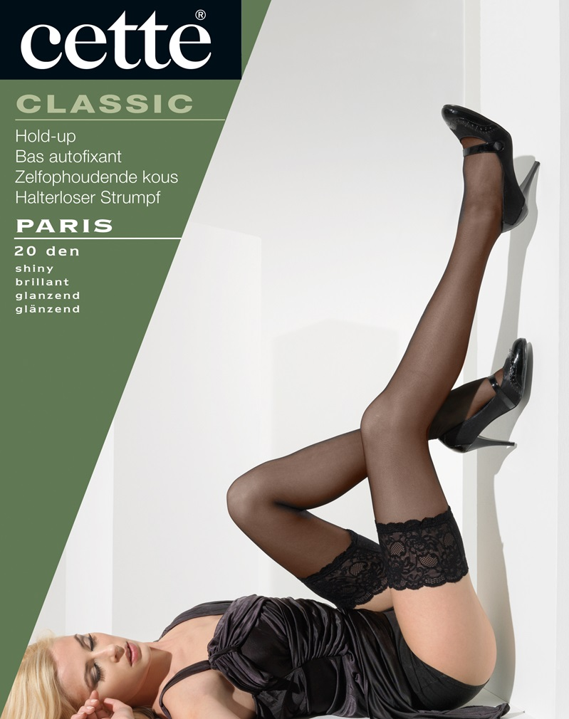 PARIS Lace Top Hold Ups - Black