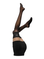 SALZBURG Seamed Lace Top Hold Ups - Black