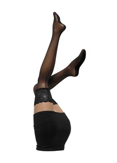 Cette Salzburg Black Seamed Lace Top Hold Ups