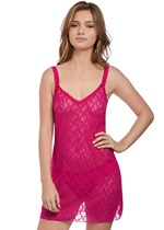 B.Tempt'd Lace Kiss Pink Peacock Chemise