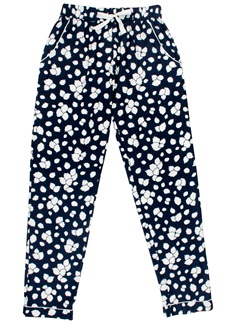 LEAFY PRINT Cotton Trousers