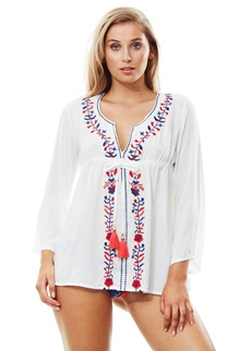Piha Embroidered White Tunic