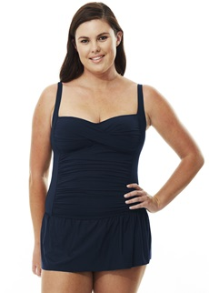 Quayside Solid Skirted Twist Navy Swimsuit