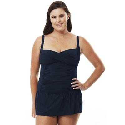 237705580281 Solid Skirted Twist Swimsuit | Quayside | Knicker Locker
