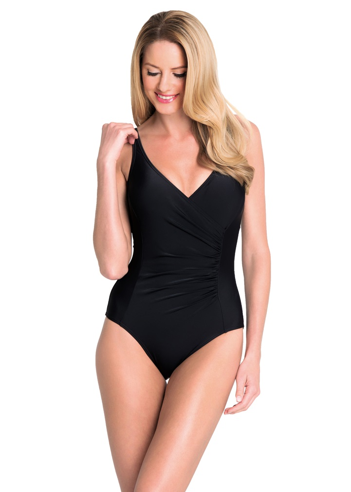 PLAIN STYLE Draped Crossover Swimsuit