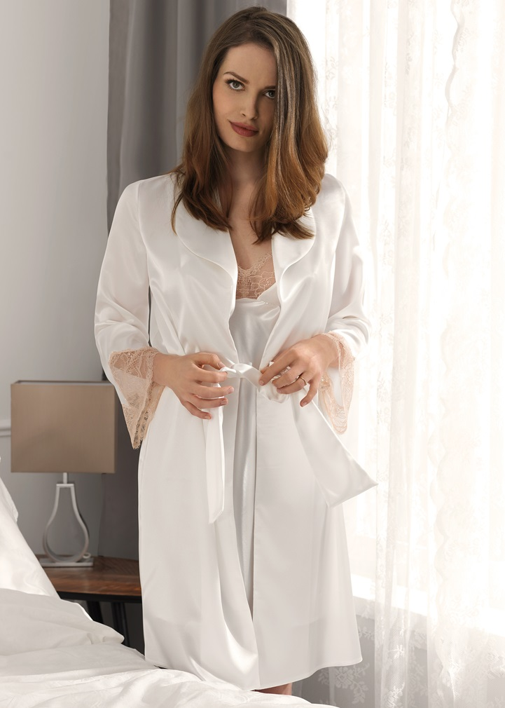 VANILLA Satin Dressing Gown - Ivory