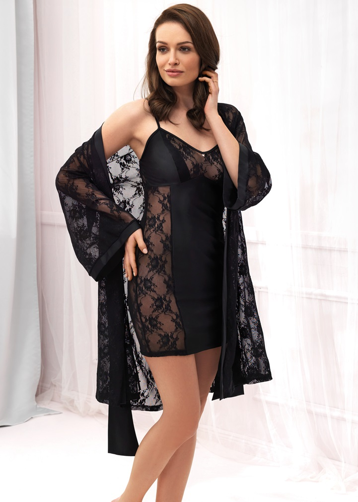 VANILLA Black Lace Dressing Gown